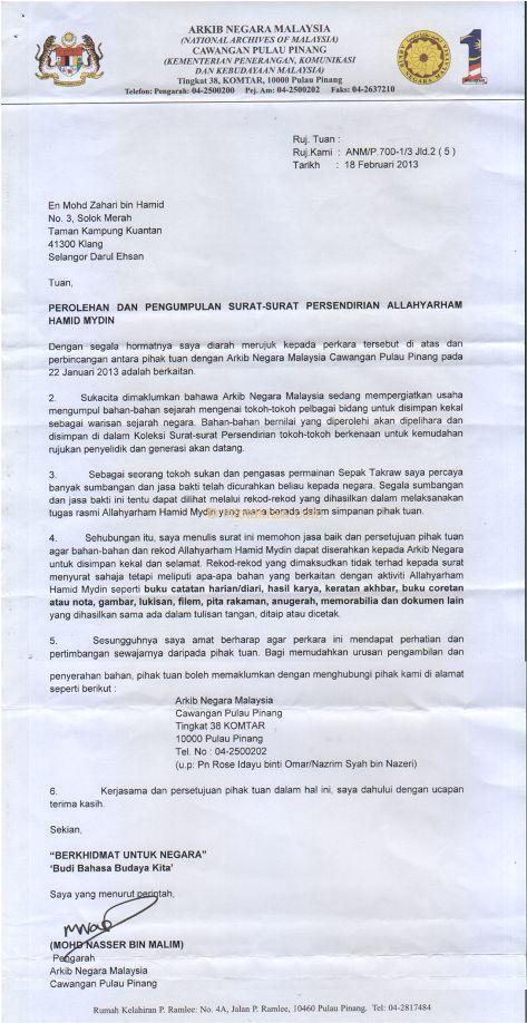Letter from the National Archives of Malaysia